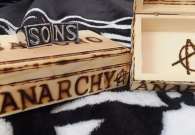 Sons of anarchy ring box wooden and customizable with any name burnt into inside