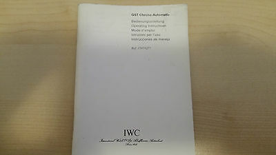Iwc Gst Chrono Automatic Ref. 3707 Ref. 9277 Operating Instruction Booklet
