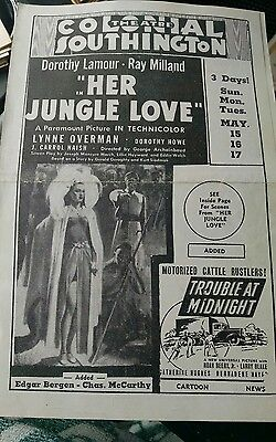 1938 movie flyer Dorothy Lamour HER JUNGLE LOVE, LONE RANGER serial, others