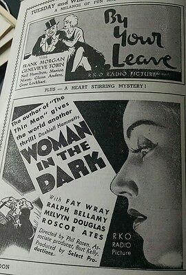 1935 WOMAN IN THE DARK movie flyer w/ FAY WRAY (star of King Kong), others