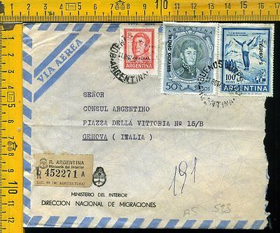 Argentina cover to Italy  S. Oficial  as 523