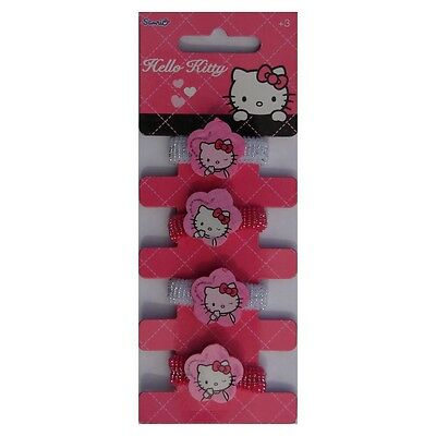 Lot de 4 elastique à cheveux Hello Kitty Disney fille rose blanc