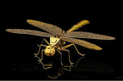 Gold DragonFly Insect 3D Metal Model Kit - Laser Cut Nano Puzzle