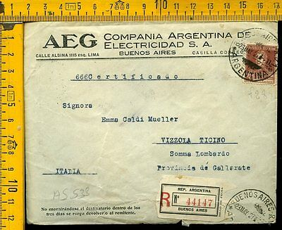 Argentina cover to Italy as 536