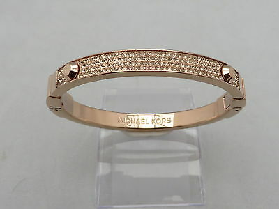 Michael Kors Rose Gold Tone Plated Crystal Bangle Bracelet Genuine With Pouch