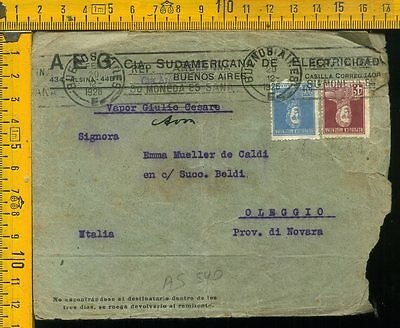Argentina cover to Italy as 540