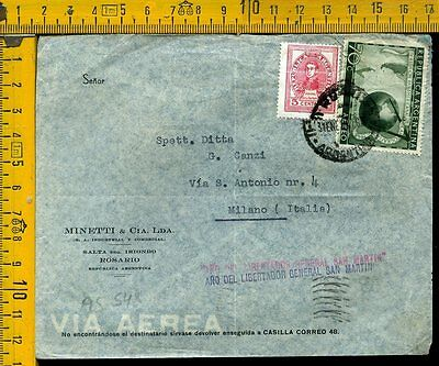 Argentina cover to Italy as 548