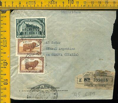 Argentina cover to Italy as 579