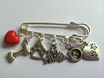 WINE  LOVERS INSPIRED Silver Tone Kilt Pin Brooch 5 Lovely Charms   in Gift Bag