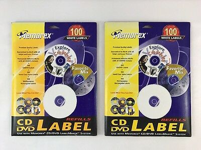 Lot Of 2 - 100 Count of Memorex Printable White Matte CD and DVD Labels Refills