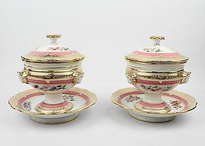 Pair of Antique 19th C Pink Bordered Paris Porcelain Covered Sauce Tureens - PC