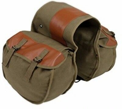Motorcycle Saddle Bag Vintage Style Pannier Travel Luggage Green Canvas