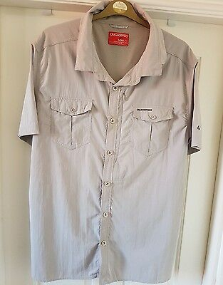 Craghoppers Men's Short Sleeve Nosilife Insect Repellent Shirt In Beige Size XXL