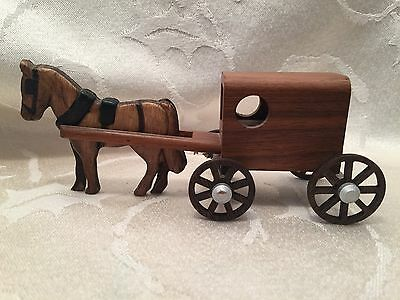 Vintage Wood Amish Horse Carriage Buggy M. M. 1998 Made In The USA Carved Toy
