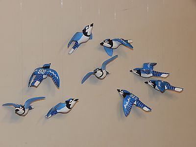 9 Hand crafted Hanging Blue Jays