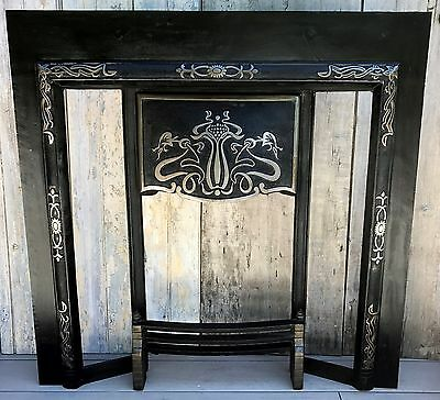 "Antique Victorian Art Nouveau Cast Iron Tiled Fireplace Surround 38""x38"" c. 1910"