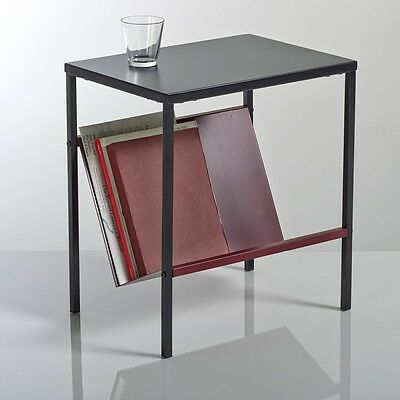BNIB La Redoute KURI Side / Bedside Table Magazine Rack Black & Burgundy RRP £89