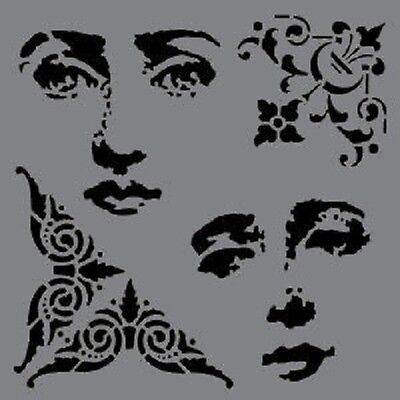 "Andy Skinner Baroque 6""x6"" Stencil Mixed Media face DecoArt journal corners"