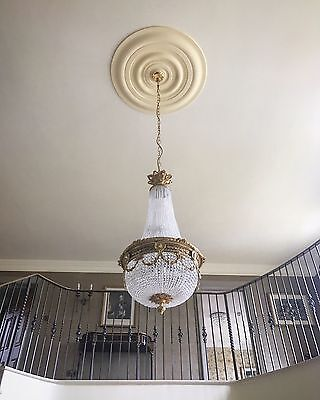 Stunning Vintage French, Crystal, Gilt Bronze, Empire Antique Chandelier