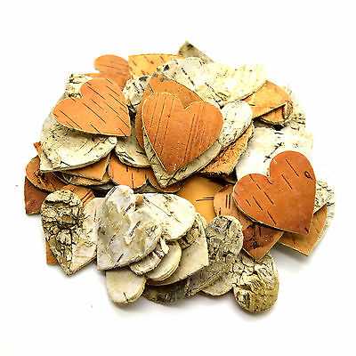 120pcs Large Birch Tree Bark Hearts Wooden Shapes Crafts Home Venue Rustic Decor