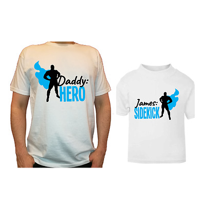 Father's Day Daddy Hero son daughter ( your name) sidekick matching t-shirt set