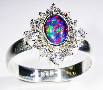 Ring A Grade Opal Coober pedy Cristal Triplet surrounder with zircons