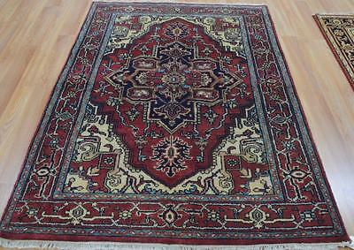 4x6 Persian Heriz Serapi Style Hand Knotted Oriental Vegetable Dye Wool Area Rug