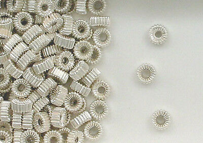 Sterling Silver 4.3x2.25mm Corrugated Flat Round Tire Beads Design, New