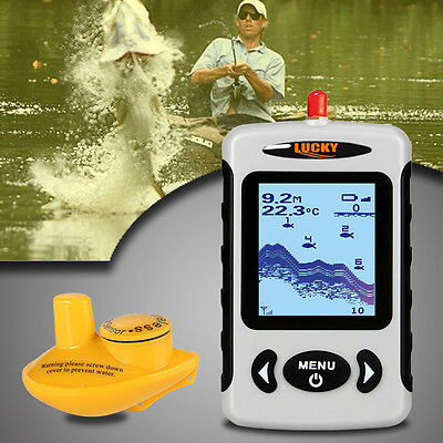 Portable Fish Finder 45m/135ft Depth Wireless Sonar Sensor LCD Display OS904