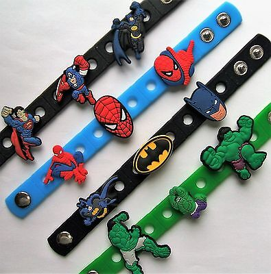 SHOE CHARM BRACELETS SILICONE (B) - inspired by - BATMAN, SUPERMAN, HULK, SPIDER
