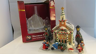 Norman Rockwell Christmas In Stockbridge  Porcelian House W/ Lights-Accessories