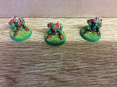 Blood Bowl - 3 metal 2nd edition Goblin Linemen, painted