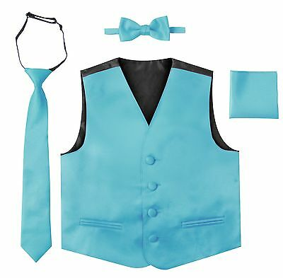 Formal Vest Set 4 Pieces Vest Tie Bow Tie Pocket Square Set Toddler Kids Boys