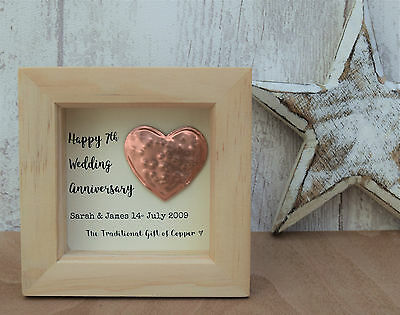 7th Wedding Anniversary Copper Gift Personalised Script Frame HeartBox