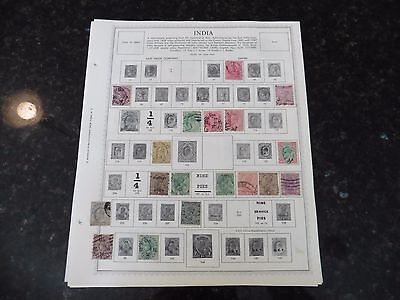C47 Lot of India & Feudatory states stamps 1855-1965 hinged 9 Minkus Album Pages