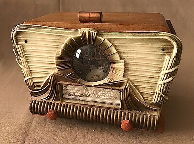 Vintage Thorens ART DECO Wood / Celluloid / Bakelite RADIO CIGARETTE MUSIC BOX