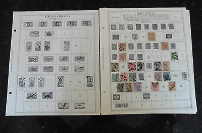 D87 Lot of Italian Colonies & Italy stamps 1862-1965 hinged 16 Minkus Album Page