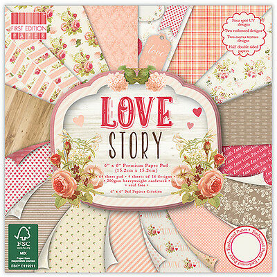 """LOVE STORY - First Edition Papers - 6""""x6"""" Taster Pack of Papers"""