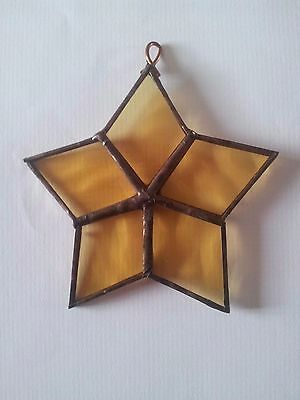 Stained Glass and Copper~ Window Light Catcher ~ Star Decoration ~ Yellow