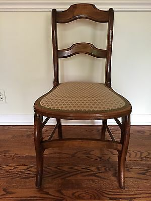 Antique Side Chair with maple wood and fabric seat