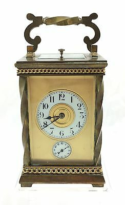 Stunning French Brass Repeater Carriage Clock With Alarm *** 17.8Cm High ***