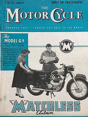 The Motorcycle Magazine # 04/07/1957 # Matchless G9 Cover # Vintage Magazine