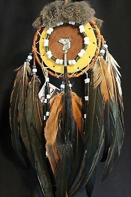 "Handcrafted Mohawk Birch Bark Mandela 5"" X16"" with Cow Hide"