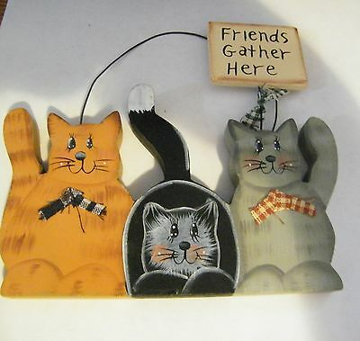 FRIENDS GATHER HERE 5.5X4 Tabby black gray cat country cats shelf sitter sign