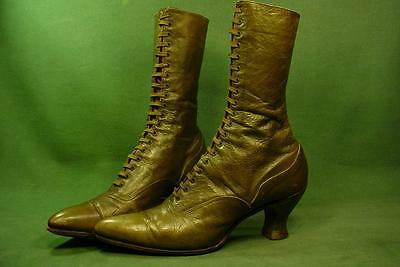 ANTIQUE VICTORIAN LACE UP LADIES HIGH TOP LEATHER BOOTS VINTAGE CLOTHING 1800s