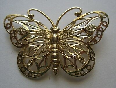 "Pretty 14K Yellow Gold Butterfly Brooch Pin Unbranded 1⅜ x ⅞"" Intricate Design"