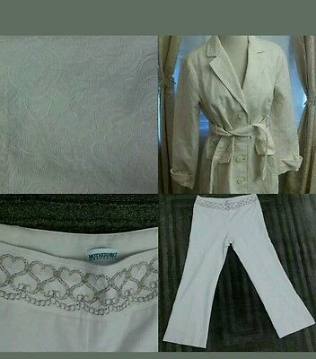 Maternity Motherhood Cream button down career suit summer outfit sz L VEUC