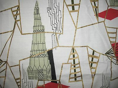 VTG MCM ATOMIC SKYSCRAPER DIRIGIBLE BLIMP BARKCLOTH FABRIC Red BLACK Metallic