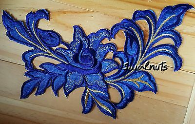 BLUE & Gold Iron on Transfer Embroidered Fabric Flower Patch Applique Motif 23cm