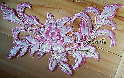 PINK & Gold Iron on Transfer Embroidered Fabric Flower Patch Applique Motif 23cm
